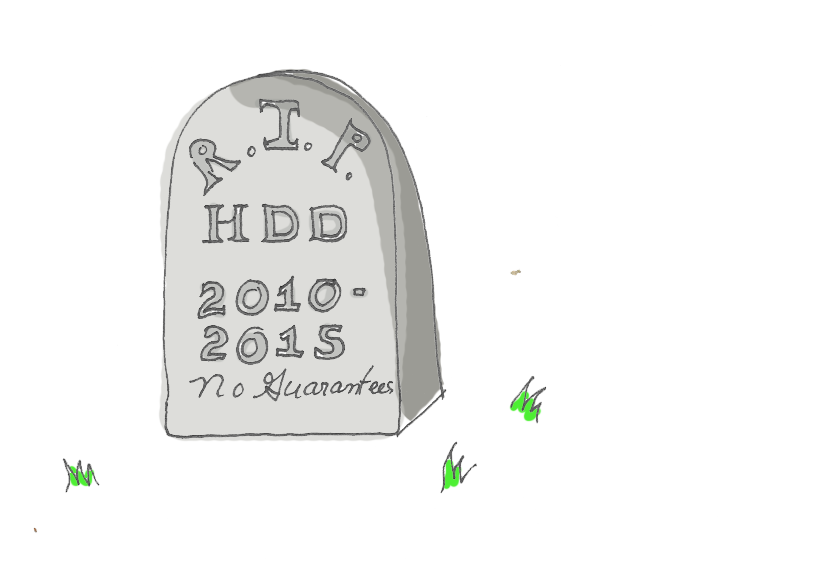 Illustration of tombstone surrounded by grass bits, engraved with 'RIP HDD 2010-2015 No Guarentees
