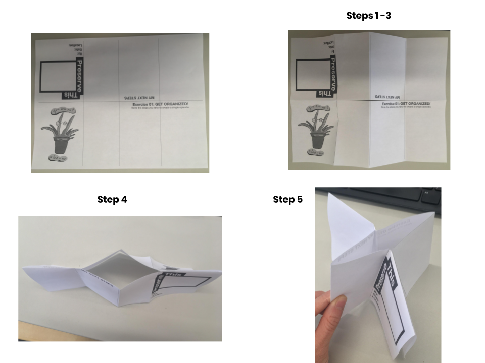 Photos on how to fold and cut Zine Jr. to become a mini-workbook for notes and activity writings.